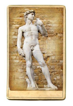Vintage cards - European landmarks - David sculpture