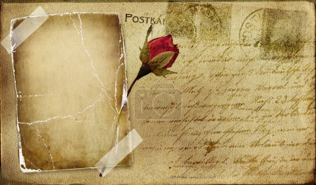 Photo for Vintage romantic post card with blank frame and rose - Royalty Free Image