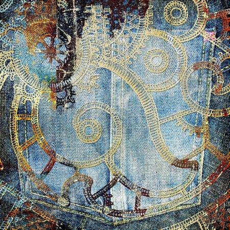 Grunge denim background with patterns
