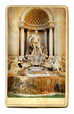 European landmarks- vintage cards- fountain Trevi
