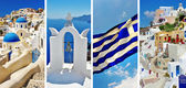 White blue Santorini, travel in greek islands series