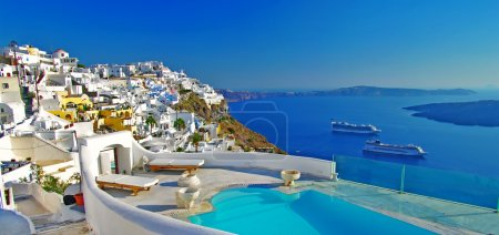 Amazing scenic Santorini, view from luxury villa...