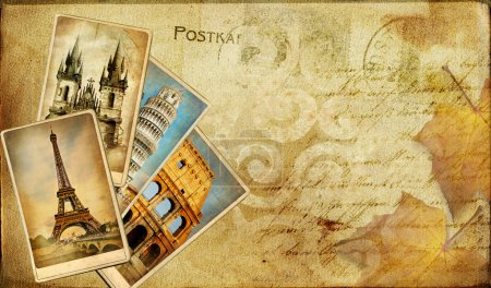 Vintage postal card - european holidays