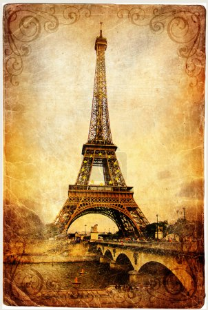 Photo for Vintage Parisian cards series -Eiffel tower - Royalty Free Image