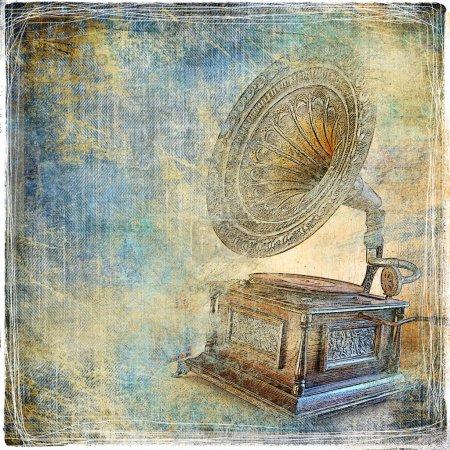 Photo pour Fond vintage avec gramophone - image libre de droit