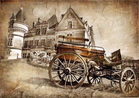 Photo pour Château médiéval avec chariot - image vintage - image libre de droit