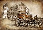 """Постер, картина, фотообои """"Средневековый замок с вагоном - марочные фотография"""""""