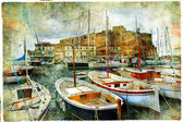 Artistic picture in painting style - boats in Naples port