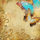 Golden retro backround with butterflies