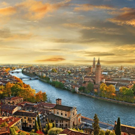 Photo for Beautiful romantic Verona on sunset. Italy - Royalty Free Image
