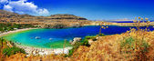 stunning beaches of Greek islands - Rhodes, Lindos bay