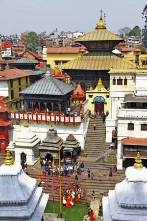 Kathmandu - Pashupatinath Temple cremation complex...