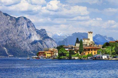 beautiful lago di Garda, north of Italy. view with castle in Mal