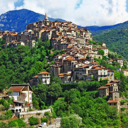 beautiful hill top village Apricale - Liguria, Italy
