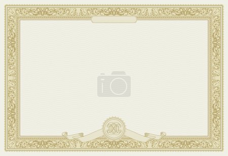 Illustration for Editable vector certificate template with ornamental border - Royalty Free Image