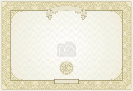 Illustration for Editable certificate template with ornamental border, in modern style - Royalty Free Image