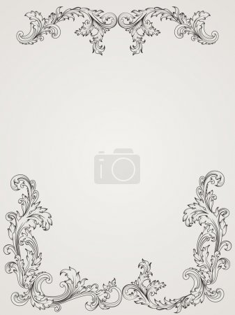 Vintage border frame, pattern in baroque style. Antique design