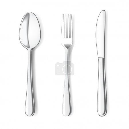 Illustration pour Fourchette, couteau et cuillère sur fond blanc. Illustration vectorielle - image libre de droit