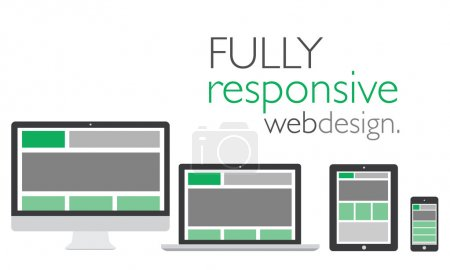 Fully responsive web design in electronic icon devices vector