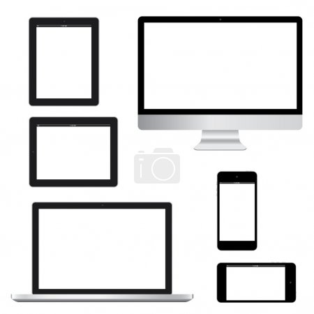 Glossy computer tablet laptop phone isolation vector eps10