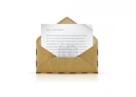 Illustration pour Une enveloppe à l'ancienne avec une lettre. Illustration vectorielle . - image libre de droit
