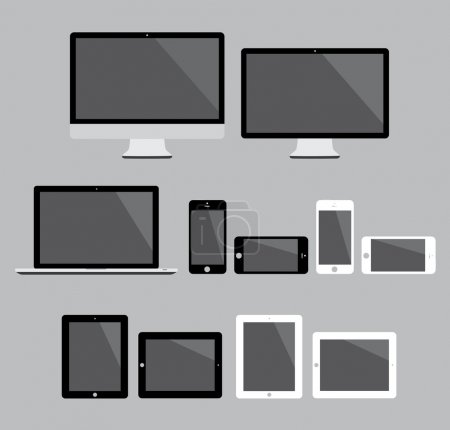 Illustration pour Dispositifs électroniques plats isolés avec deux couleurs . - image libre de droit