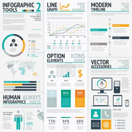 Illustration for Big vector set of modern business infographics. - Royalty Free Image