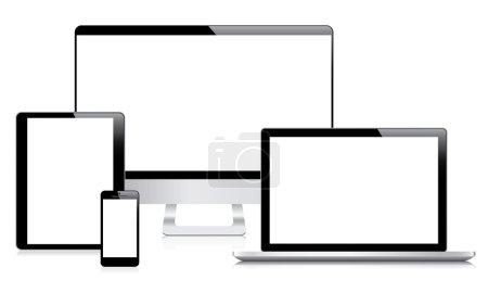 Modern computer, laptop, tablet and smartphone vectors