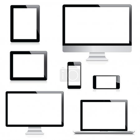 Illustration pour Ordinateur moderne, ordinateur portable, tablette et smartphones vecteurs - image libre de droit