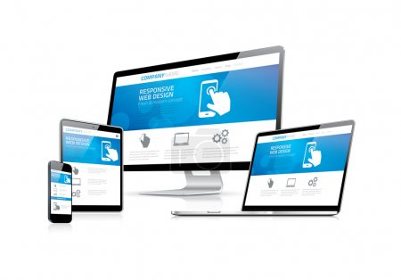 Illustration for Website coding development with responsive web design concept eps10 - Royalty Free Image