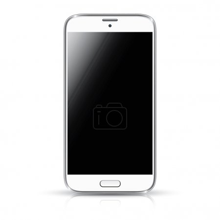 White smartphone realistic vector illustration isolation. Modern style mobile phone.
