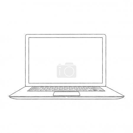 Illustration pour Illustration vectorielle d'ordinateur portable dessinée à la main - image libre de droit