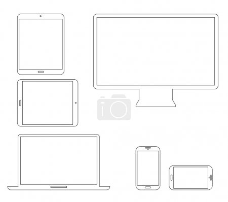 Illustration for Set of outline electronic devices. Laptop, tablet, smartphone and computer vector illustrations. - Royalty Free Image