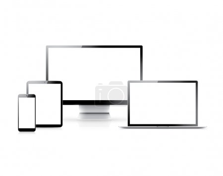 Realistic vector set of laptop, tablet, smartphone and computer with empty white screens