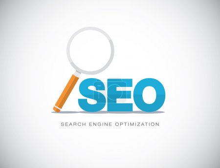 Illustration pour Concept plat de search engine optimization avec loupe vector. - image libre de droit