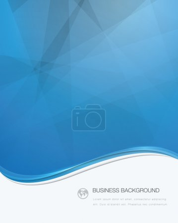 Illustration for Blue vector wave business brochure template with white text area - Royalty Free Image