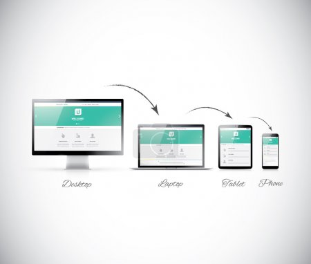Illustration for Responsive web design development in modern electronic devices - Royalty Free Image