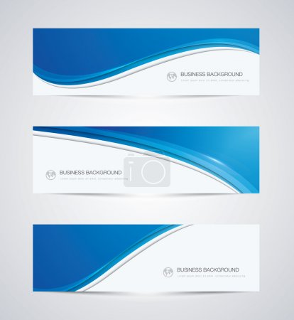 Illustration for Abstract vector business background banner beautiful blue wave - Royalty Free Image