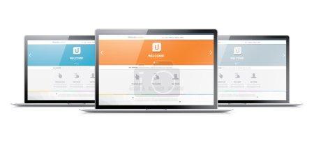 Illustration for Three laptops displaying modern web development coding websites - Royalty Free Image