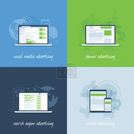 Internet marketing and advertising concepts in flat vector template