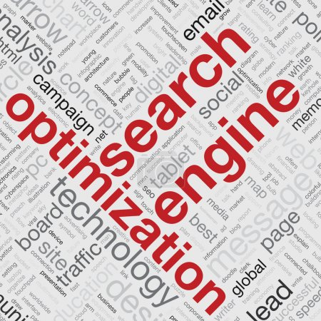 Search engine optimization concept in word tag cloud vector illustration