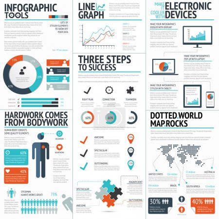 Illustration for Big colorful set of infographic business elements in vector format - Royalty Free Image