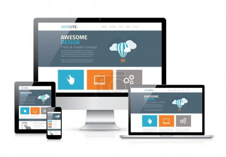Illustration for Modern flat web design in responsive website vector - Royalty Free Image