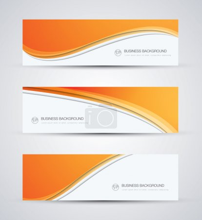 Illustration for Abstract vector business background banner beautiful orange wave - Royalty Free Image