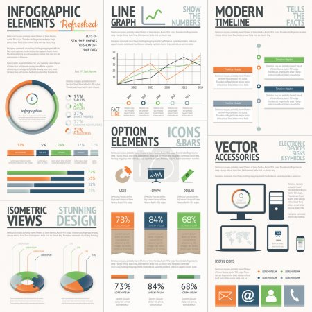 Illustration for Fresh and stylish orange and green vector infographics elements - Royalty Free Image