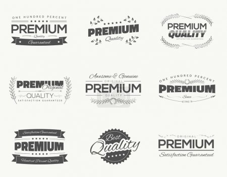 Illustration for Satisfaction guaranteed vintage premium quality black vector labels and badges set and collection isolation. - Royalty Free Image