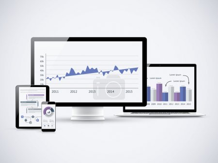 Illustration for Analyzing financial statistics on the vector computers - Royalty Free Image