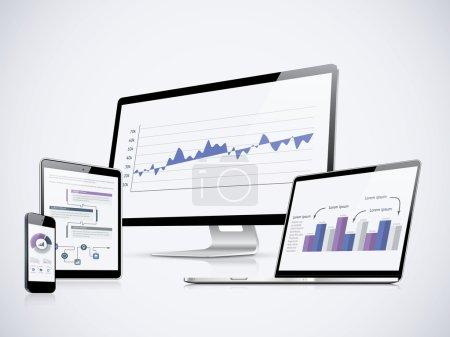 Illustration pour Vecteur de statistiques informatiques avec ordinateur portable, tablette et smartphone - image libre de droit
