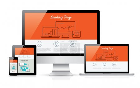 Illustration for Responsive landing page development vector template illustration - Royalty Free Image