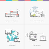 Flat web development concepts minimal vector computer line style
